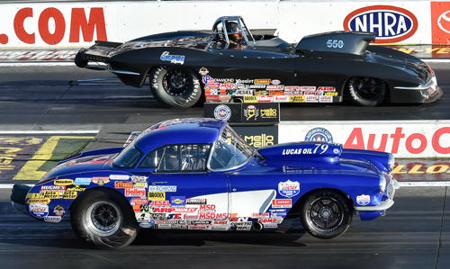 In the all Chevy Corvette S/G title bout - Brad Pierce (near lane) defeated Ed Olin.