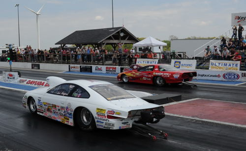 Luc Angers (near lane) prevailed in the chase for the 2016 TS/TD Championship in USDRS circuit racing in 2016.