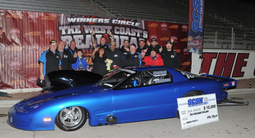 After coming close before (runner-up in 2014) Langely BC's Ken Sihota won at Las Vegas' marquee Street Car Super Nationals event last weekend. Racing his 2000 Firebird - Sihota won the the very competitive 1/8th mile Outlaw 10.5 class category when he ran a career best 4.034 secs at 185.41 mph in the championship final round. Sihota's team collected a cool $10G for their troubles!